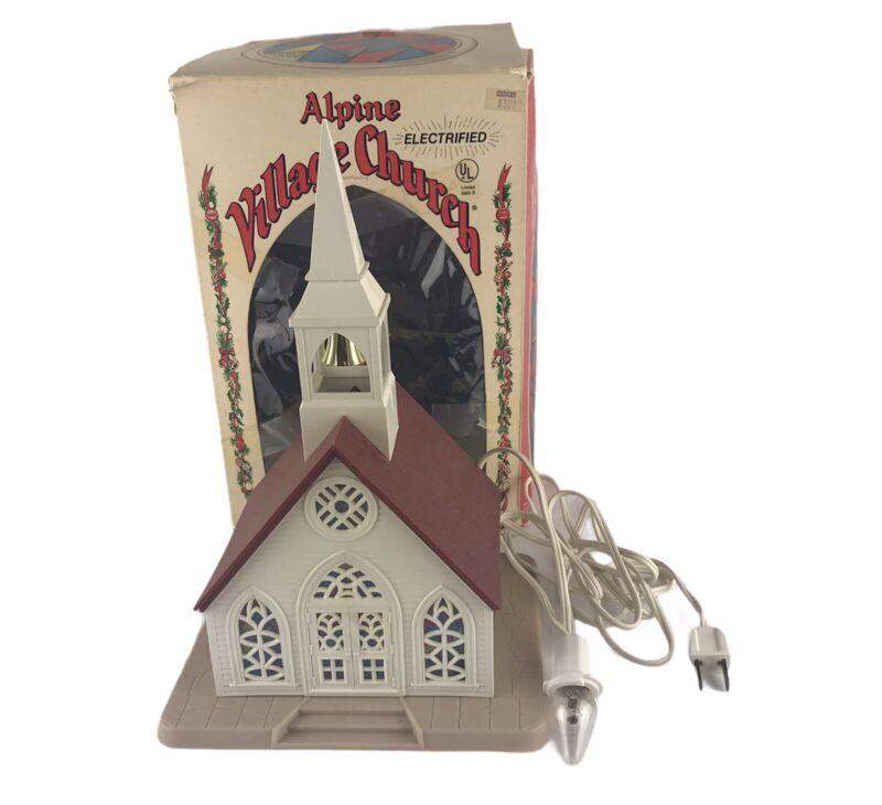 Vintage Regency Electric Light Up Alpine Village Church Christmas #1553 W/ Box