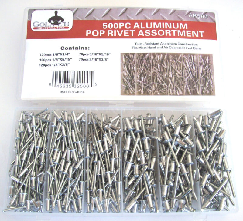 500pc GOLIATH INDUSTRIAL ALUMINUM POP RIVET ASSORTMENT FOR HAND/AIR RIVETER GUN