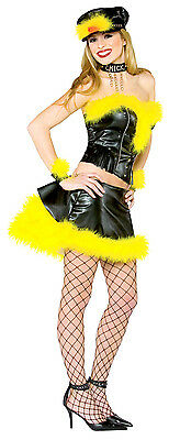 Biker Chick Girl Black Yellow Bird Woman Fancy Dress Up Halloween Adult Costume