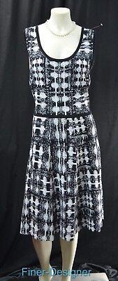 Carmen Marc Valvo Dress Black white Ponte Knit Sheath stretch tank L VTG NEW