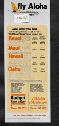 ALOHA AIRLINES 737 FUNBIRD JETS & BUDGET RENT A CAR 1970