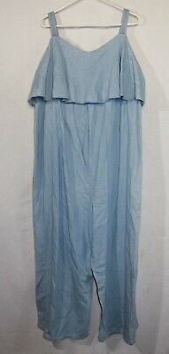 Isabel Maternity Denim Jumpsuit Woman's Size XL Color Blue Light Wash