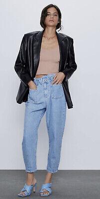 Zara Light Blue Baggy Paperbag Jeans Size 10