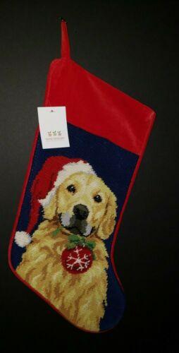 GOLDEN RETRIEVER Dog Handmade Finished Needlepoint Christmas Stocking Nwt