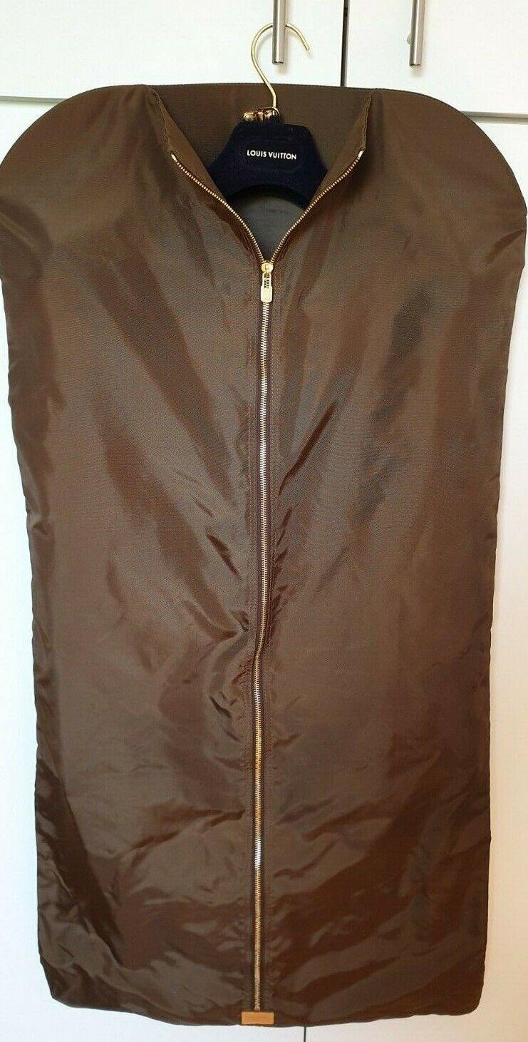 2a8b4f9edb7a Details about Louis Vuitton Brown Trifold Garment Bag Suit + Carrier Royal  Blue Velvet Hanger