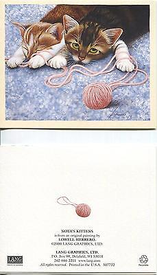VINTAGE TABBY CAT KITTENS SLEEPING GREEN EYES PLAYING PINK YARN NOTE ART CARD, used for sale  Shipping to Canada