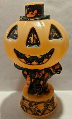 "VTG Empire 14"" Halloween Jack O Lantern Pumpkin with Black Cat Witches Blow Mold"