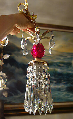 1 Vintage ruby Lucite hanging mini closet tole lamp chandelier crystal prisms