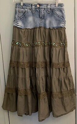 D Jeans VTG Womens Broomstick Boho Skirt Sz 4 Denim to Khaki Tiered Sequins Lace