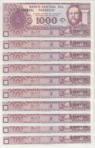 Paraguay Banknote P221 1,000 Guaranies 2002 Commemorative,  Lot of 10, UNC