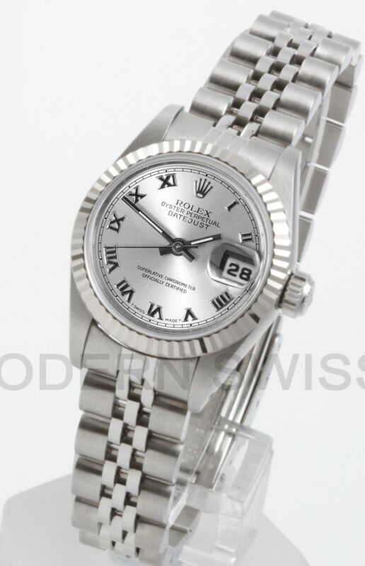 Rolex Ladies Datejust Steel Silver Roman & Gold Fluted Jubilee Oyster Perpetual