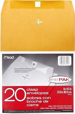 Mead Clasp Envelopes Mailing 9x12 Manila Envelopes With Metal Clasp Office Pack