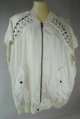 Faith Connexion Off White Laced Bomber Jacket Women's Size Small