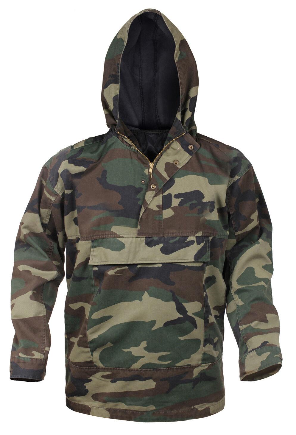 Mens Woodland Camo Anorak Parka Jacket Coat Camouflage Lined