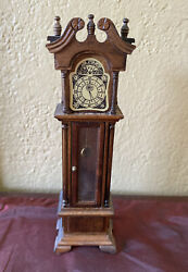 Vintage Dollhouse Grandfather Clock Wood Pendulum 6-3/4 Tall Miniature