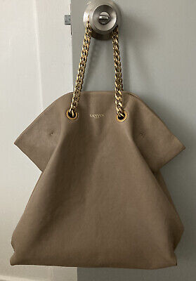 Lanvin Carry Me Beige / Gray Leather Tote Bag Gold Chain + Leather Straps