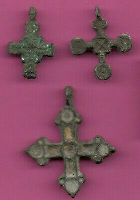 Lot of 3 Russia Bronze Ortodox Cross ca 1050 11-12th Viking Byzantine 680