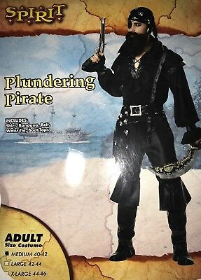 Spirit Halloween Costume Plundering Pirate Men Adult Size Medium 40-42