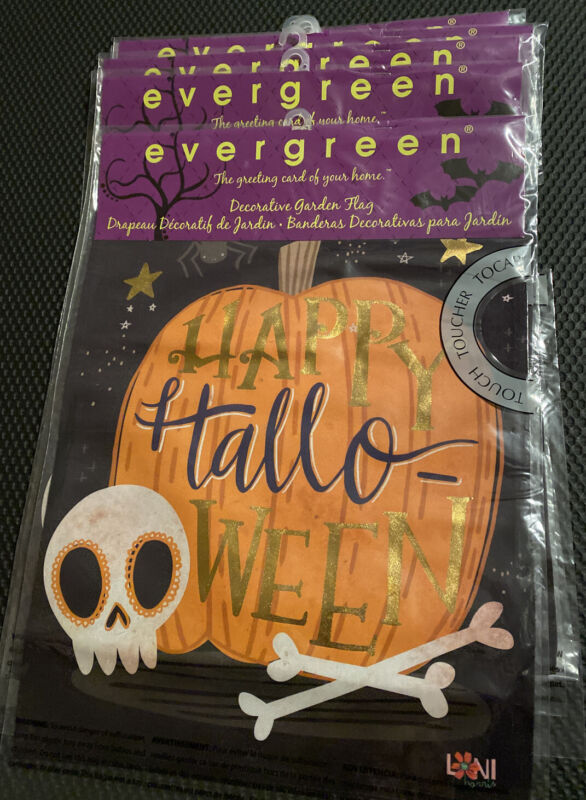 Wholesale Lot of 8 Evergreen Double Sided Happy Halloween Flags