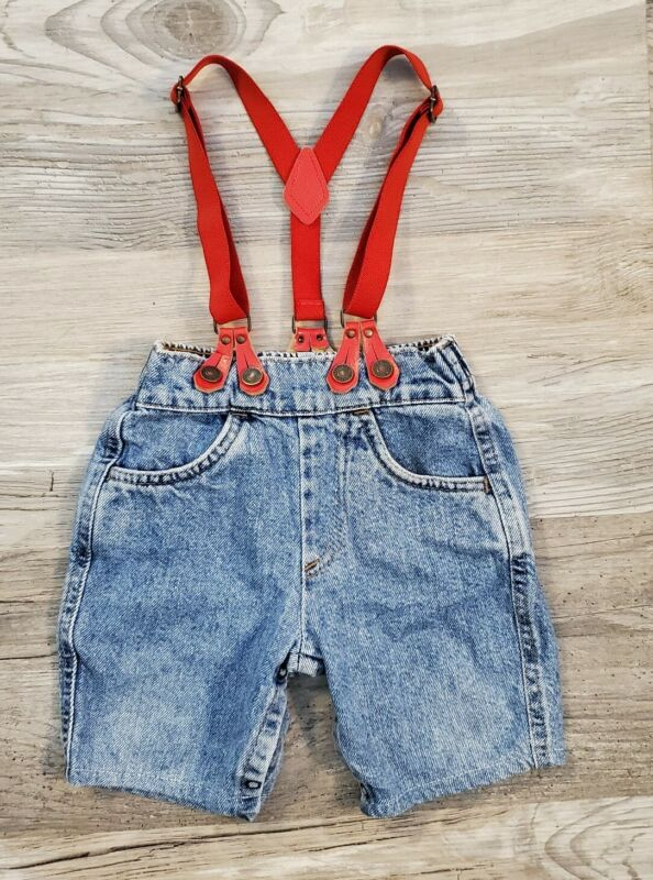 Vintage & Rare Little Levis Denim Baby Toddler Blue Jeans Size 18M w Suspenders