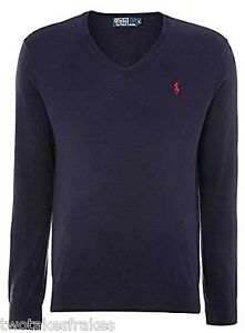 Ralph-Lauren-Men-039-s-Italian-Yarns-Lambs-Wool-V-Neck-Knitted-Pull-Over-Jumper-New