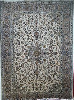 Handmade Antique Hand Woven Persian Kashan White Rug Mive 250c