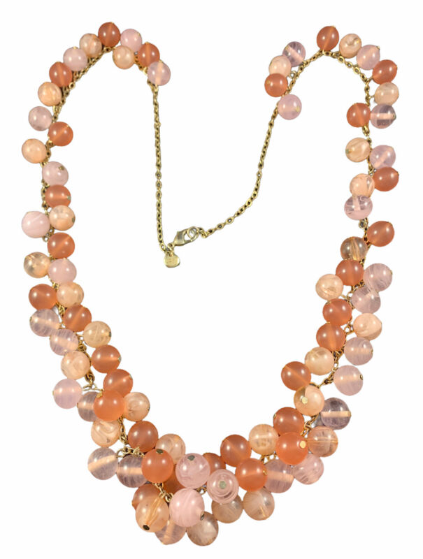 "Ann Taylor Loft Pink Cluster Beaded Statement Necklace Gold Tone Chain 34""L"