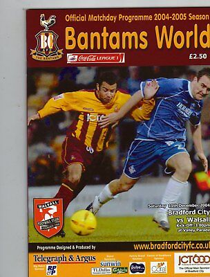 BRADFORD CITY  V  WALSALL 11/12/2004 PROGRAMME
