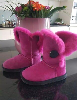 UGG K Bailey Button KIDS Stiefel Lammfell Stiefel 29  Kinder Mädchen pink