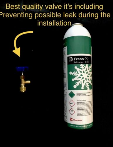 Refrigerant R22 35oz = 2.18Lbs Valve It's Included!!