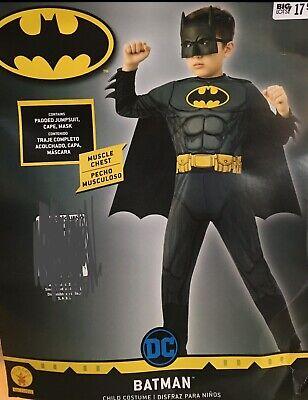 Batman Child Costume Muscle Chest Jumpsuit Cape & Mask Size Medium 8-10 - NEW