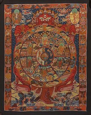 Original Handpainted Tibetan Chinese Buddha Mandala Thangka Buddhism Painting