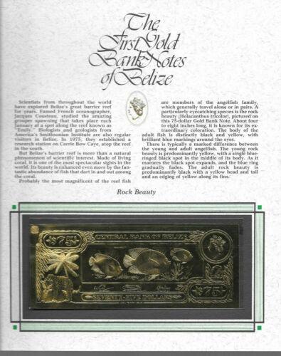 22kt Gold $75 Belize 1981 Banknote- ROCK BEAUTY - RARE UNC