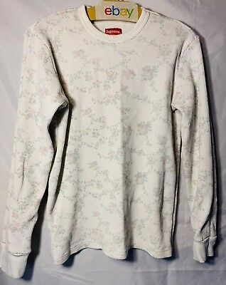 Supreme Waffle Shirt Medium Cherry Blossom FW 16 Men White Long Sleeve Thermal for sale  Springfield