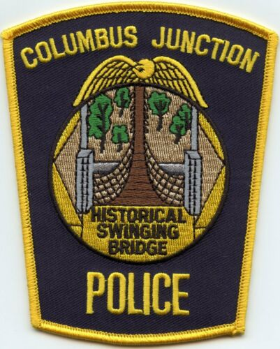 COLUMBUS JUNCTION IOWA IA Historical Swinging Bridge POLICE PATCH