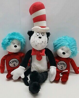 Universal Studios Dr Seuss Cat in the Hat Thing 1 and Thing 2 Plush Dolls