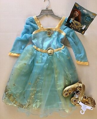 NWT Disney Store Brave M 7-8 Merida Blue Talking Costume Dress Shoes & Tiara