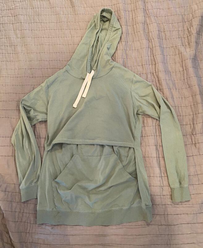 Boob Designs Nursing Hoodie- L, maternity, hooded sweatshirt, green, retail $109