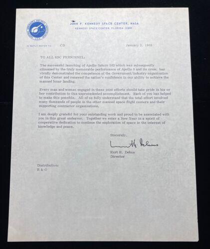 APOLLO 8 ORIGINAL 1969 NASA ISSUED ACCOMPLISHMENT MEMO / LETTER TO PERSONNEL