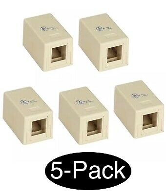 5 Pcs Blank Surface Mount Box 1 Port Modular Keystone Jack Cat5e/Cat6 RJ45 Ivory Blank Surface Mount Box
