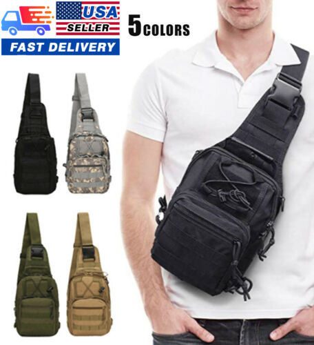 Men Backpack Molle Tactical Sling Chest Bag Assault Pack Messenger Shoulder Bag