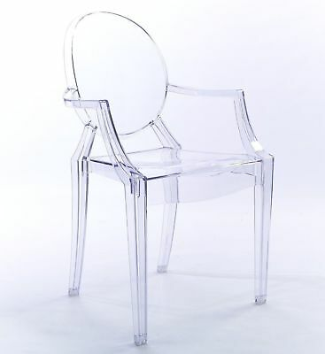 Clear Ghost Louis Arm Chair Dining & Dressing Room Transparent Modern Chic Style