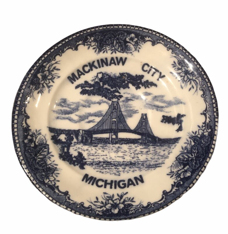 Mackinaw City Michigan Vintage Souvenir Plate With Bridge, Made In Japan