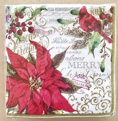 Blueink Cocktail Beverage Paper Napkins Christmas Poinsettia Cardinal 40 3-ply](Christmas Paper Products)