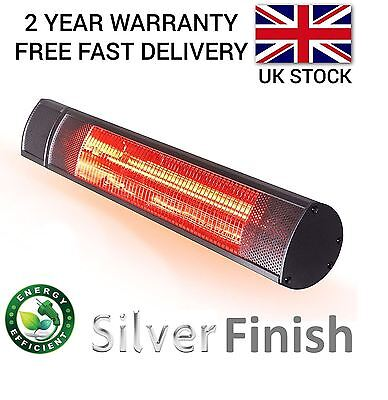 GARDEN HEATER PATIO OUTDOOR ELECTRIC WALL MOUNTED INFRARED 2KW HALOGEN