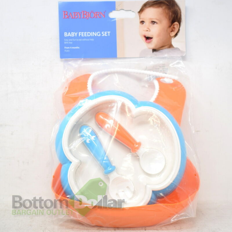 BabyBjorn Baby 4 Piece Feeding Set-Soft Bib/Plate/Utensils Orange/Turquoise