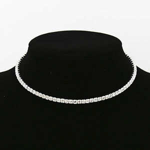 Diamante Crystal Diamond Rhinestone Necklace Choker Silver Wedding Party Chain