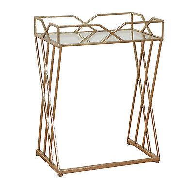Glas Metall-beistelltisch (Konsolentisch Metall-Glastisch Beistelltisch Tisch Konsole Antik Couchtisch Gold)