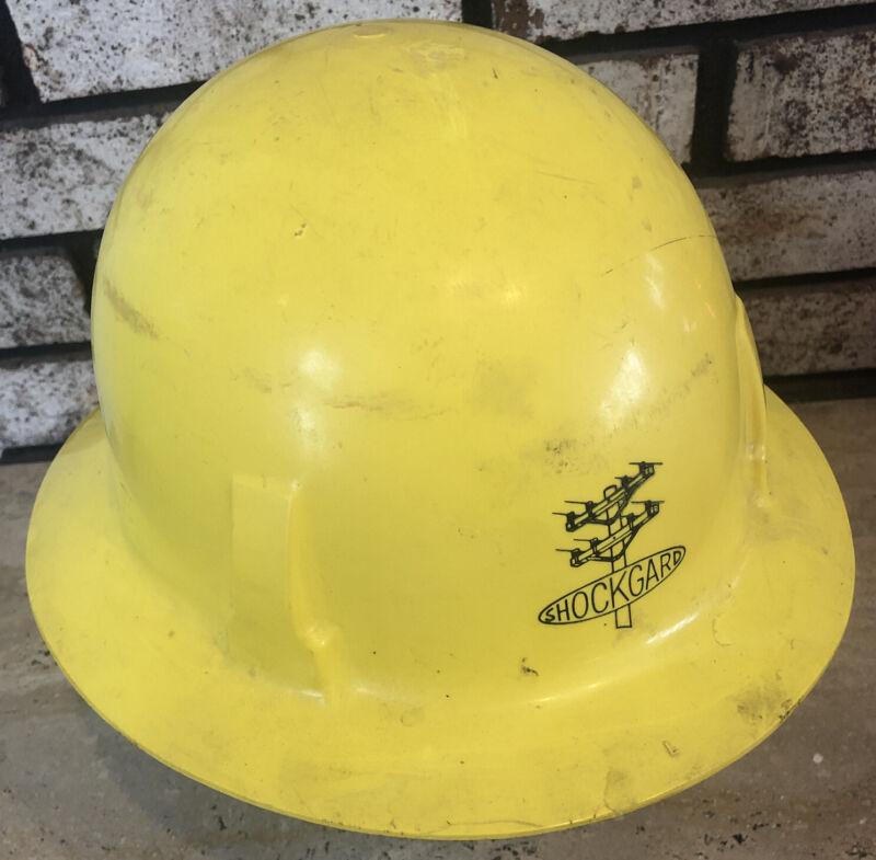 MSA Shockgard Lineman Worker Full Brim Safety Hard Hat Yellow Plastic vtg USA