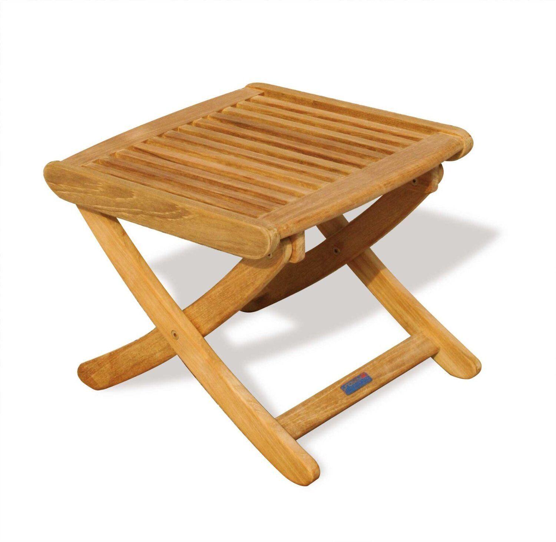 Sustainable teak adjustable garden footstool wooden footrest side table